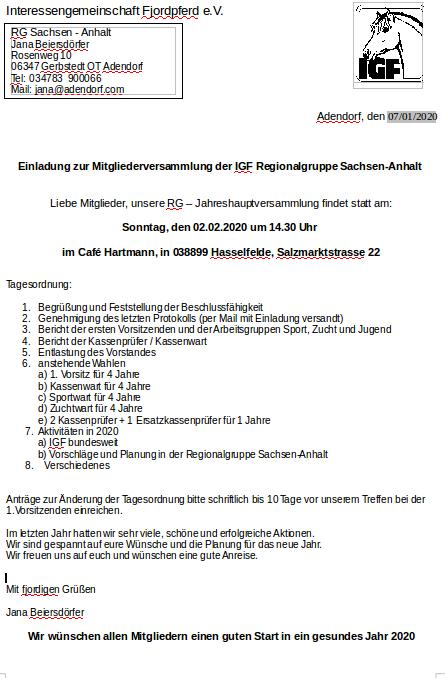 Mitgliederversammlung der IGF RG SachsenAnhalt